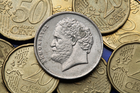Coins of Greece. Greek philosopher Democritus depicted in the old Greek 10 drachma coin. photo