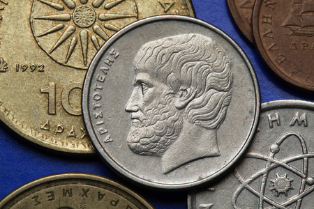 Coins of Greece. Greek philosopher Aristotle depicted in the old Greek five drachma coin. photo