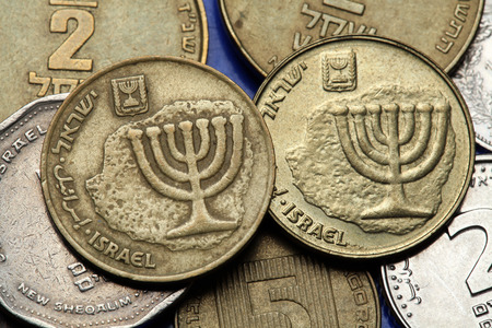 Coins of Israel. Menorah depicted in the Israeli ten agorot coins.