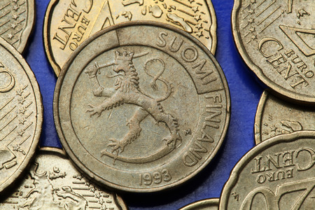 Coins of Finland. Finnish national coat of arms depicted in the old Finnish one markka coin.