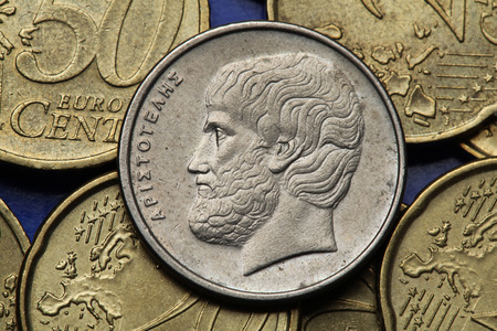 Coins of Greece. Greek philosopher Aristotle depicted in the old Greek five drachma coin. 스톡 콘텐츠