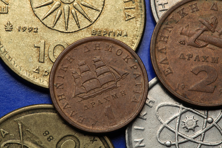greek coins: Coins of Greece. Greek sailing corvette depicted in the old Greek one drachma coin.