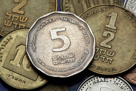 sheqalim: Coins of Israel. Israeli five new shekels coin.
