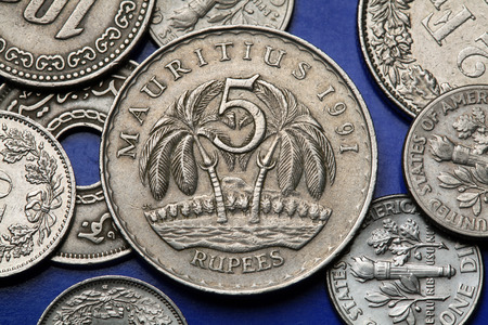 five rupee: Coins of Mauritius. Two palm trees depicted in the Mauritian five rupee coin. Stock Photo