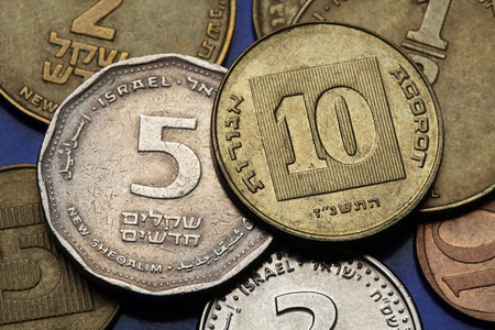 sheqalim: Coins of Israel. Israeli five and ten agorot coins.