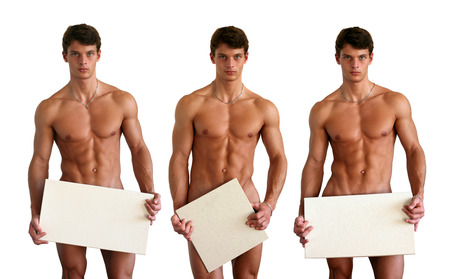 Three nude muscular men covering with copy space blank signs isolated on white