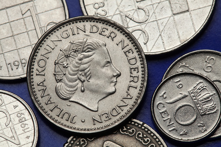 juliana: Coins of the Netherlands. Queen Juliana of the Netherlands depicted on the Dutch guilder coins.