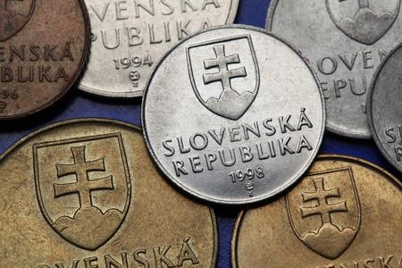 double cross: Coins of Slovakia. Coat of arms of Slovakia depicted on Slovak koruna coins.