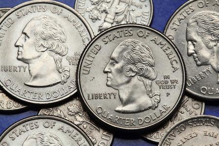 george washington: Las monedas de EE.UU.. George Washington representa en la moneda de cuarto de los EEUU.