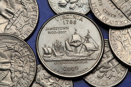 25 cents: Coins of USA. Ships Susan Constant, Godspeed and Discovery depicted on the US Virginia quarter (2000).