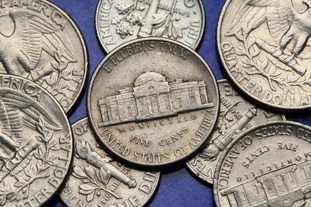 us coin: Coins of USA. Monticello Estate owned by Thomas Jefferson depicted on the US nickel coin.