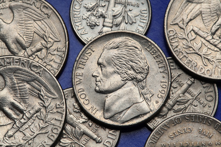 five cents: Coins of USA. Thomas Jefferson depicted on the US nickel coin.
