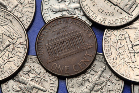 us coin: Coins of USA. Lincoln Memorial in Washington D.C. depicted on the US one cent coin. Stock Photo