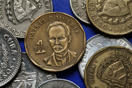 national hero: Coins of Cuba. Cuban national hero Jose Marti depicted in the Cuban one peso coin.