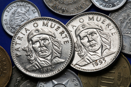 peso: Coins of Cuba. Cuban national hero Ernesto Che Guevara depicted in the Cuban three peso coin. Stock Photo