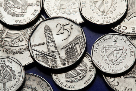 peso: Coins of Cuba. The town of Tirnindad depicted in the Cuban 25 centavo coin of Cuban convertible peso (CUC).