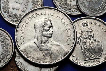 frank szwajcarski: Monety Szwajcarii. Alpine pasterze i stoi Helvetia przedstawione w szwajcarskich frankach. Monet
