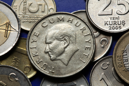 turkish lira: Coins of Turkey. Mustafa Kemal Ataturk depicted in the Turkish lira coins.