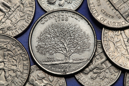 25 cents: Coins of USA. Charter Oak depicted on the US Connecticut quarter (1999).