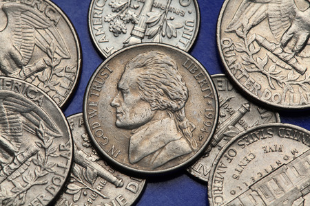 us coin: Coins of USA. Thomas Jefferson depicted on the US nickel coin.
