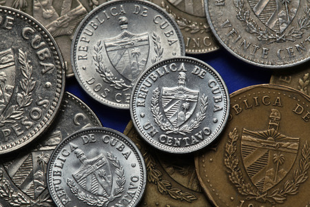 peso: Coins of Cuba. Coat of arms of Cuba depicted in the Cuban peso coins.