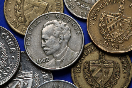 national hero: Coins of Cuba. Cuban national hero Jose Marti depicted in the Cuban peso coin. Stock Photo