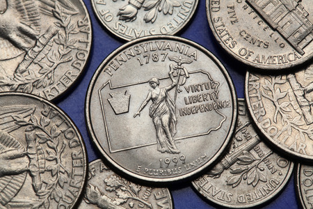 25 cents: Coins of USA. Commonwealth statue in Harrisburg, Pennsylvania, depicted on the US Pennsylvania quarter (1999).