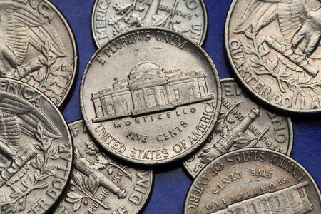 Coins of USA. Monticello Estate owned by Thomas Jefferson depicted on the US nickel coin. photo