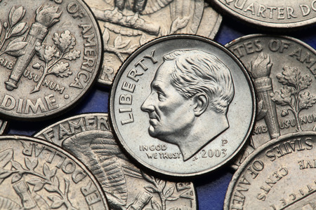 us coin: Coins of USA. Franklin D. Roosevelt depicted on the US dime coin.
