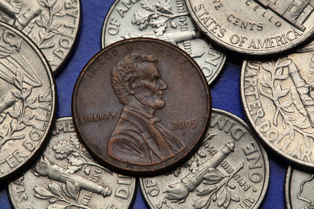 us coin: Coins of USA. Abraham Lincoln depicted on the US one cent coin.