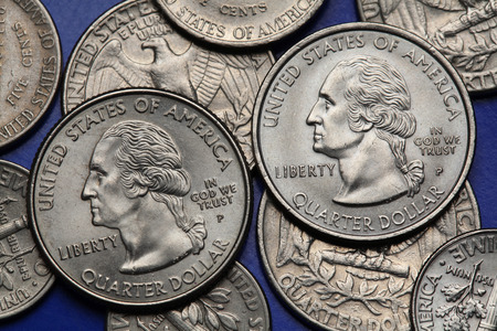 25 cents: Coins of USA. George Washington depicted on the US quarter coin.