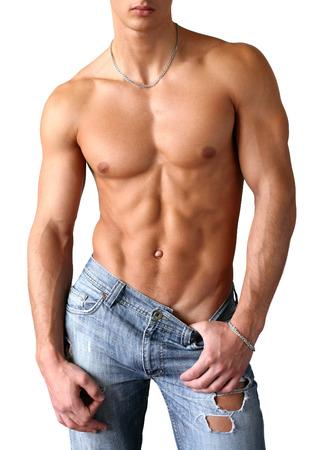 desnudo masculino: Hombre sexy muscular, aislado en blanco Foto de archivo