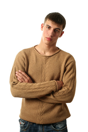 'pull over': Young sexy man in yellow pullover isolated on white