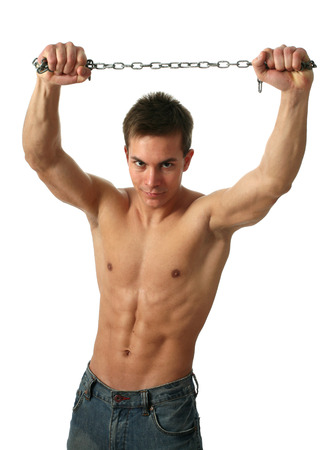 bare chested: Young muscular man with a chain isolated on white