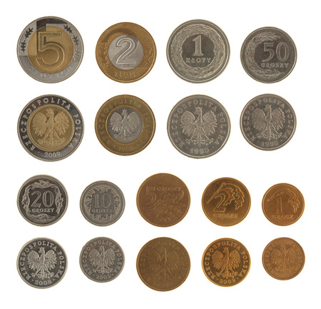 Set of Polish Zloty coins isolated on white photo