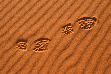 Human footsteps in the sand in the Sahara Desert, Morocco photo