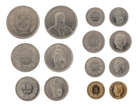 frank szwajcarski: Zestaw szwajcarskich monet Franc samodzielnie na białym tle