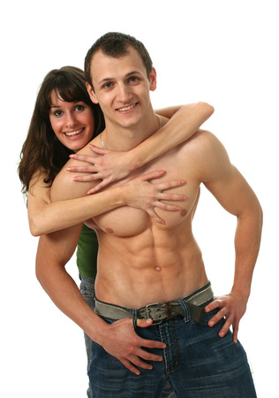 male muscles muscular pecs pectoral sexy young: Loving couple isolated on white