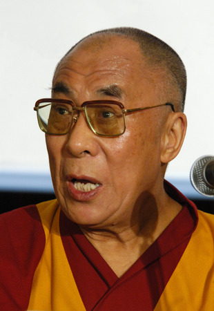 PRAGUE - NOVEMBER 17: His Holiness Dalai Lama during his official visit in Prague, Czech Republic, on November 17, 2010. Stock Photo