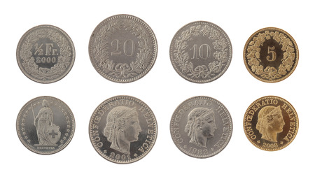 swiss franc: Set of Swiss Franc coins isolated on white