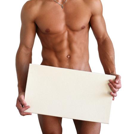 hombre desnudo: Musculoso torso desnudo cubriendo con una caja de copia espacio aislado en blanco