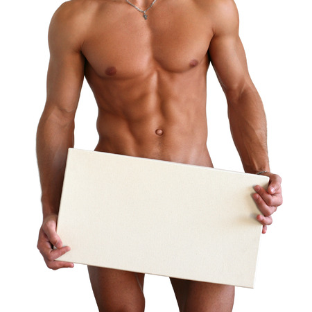 nude abs: Naked muscular torso covering with a copy space box isolated on white Stock Photo