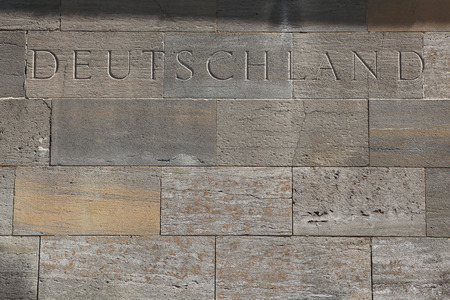 deutschland: Deutschland (Germany). Word carved into the stone blocks. Stock Photo