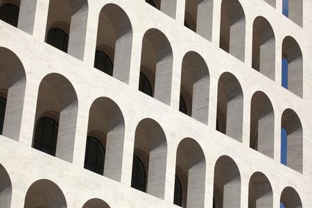 Palazzo della Civilta Italiana also known as the Square Colosseum in the EUR District in Rome, Lazio, Italy.