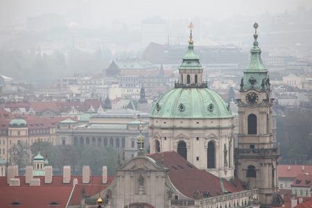 Saint Nicholas Church in Mala Strana viewed from Petrin Hill in Prague, Czech Republic. photo