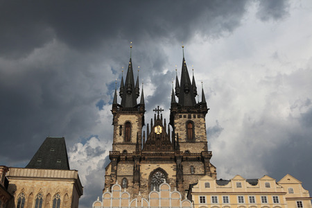 Tyn Church in Old Town Square in Prague, Czech Republic. photo