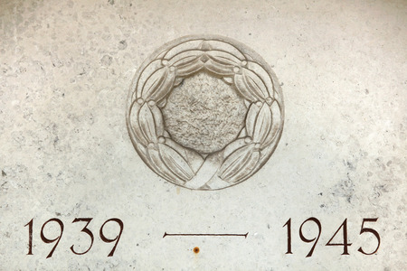Years 1939 to 1945. The years of World War II carved in the stone. Stock Photo
