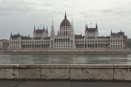 gothic revival style: Hungarian Parliament on the embankment of the Danube in Budapest, Hungary.