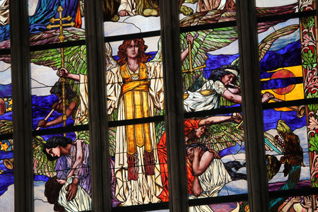 judgment: Last Judgment. Art Nouveau stained glass window in Saint Barbara Church in Kutna Hora, Czech Republic.