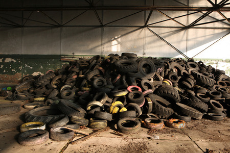 waste products: Old car tires in the area of the former Soviet military base in Milovice, Czech Republic. Stock Photo